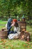 Romantic happy couple at fall Royalty Free Stock Photo