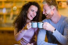 Romantic couple having date in coffee shop Stock Photo