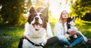 Romantic happy couple in love enjoying their time with pets in nature Stock Photo