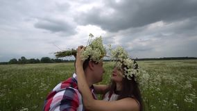 Romantic Happy Couple In Love Taking Photos On Phone In Nature. Portrait Of Young Beautiful Woman And Handsome Man Making Selfie Photos On Vacation Outdoors stock video footage