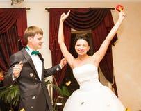 Romantic happy handsome groom and beautiful  bride Stock Image