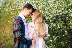 Romantic happy loving couple on nature in spring. 1 stock photography