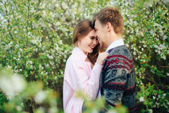 Romantic happy loving couple on nature in spring. 1 stock images