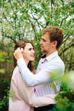Romantic happy loving couple on nature in spring. 1 royalty free stock photography