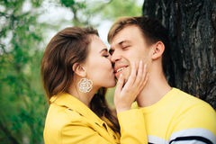 Romantic happy loving couple on nature in spring. 1 stock photo