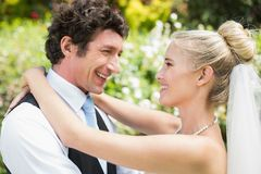 Romantic happy newlywed couple hugging each other Royalty Free Stock Photo