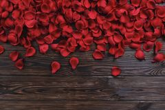 Beautiful bright red rose petals on wooden background. Happy valentines day oliday sales concept. Romantic happy valentines day greeting card / women`s day Stock Photography