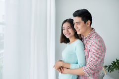 Romantic happy young asian couple relax at modern home indoors Stock Photography