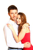 Romantic happy young couple isolated on white background Stock Photos