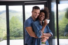 Romantic happy young couple relax at modern home indoors Royalty Free Stock Photography