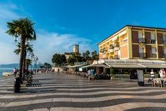 Romantic harbor of Lazise, lake garda in Italy royalty free stock image