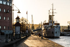 Romantic harbor port scene in Gothenburg Sweden at sunset Royalty Free Stock Photo
