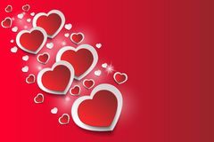 Romantic heart background, isolated on red background, stars, radiance stock illustration