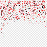 Romantic heart background. Vector illustration for holiday design. Many flying hearts on transparent background. For wedding card, Stock Image