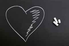 Romantic heart on the blackboard Royalty Free Stock Images
