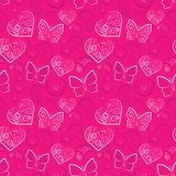 Romantic heart and butterfly  seamless Royalty Free Stock Photography