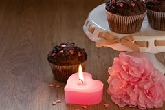 Romantic heart candle in Valentines day Stock Image