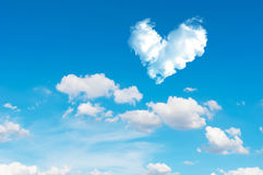 Romantic Heart Cloud abstract blue sky and cloud nature backgrou Stock Images