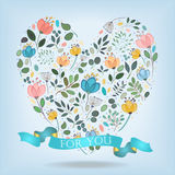 Romantic Heart with Flowers, Banner and Text royalty free stock images