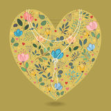 Romantic Heart with Flowers and Pearl Necklace Royalty Free Stock Images