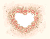Romantic heart-frame with roses. Frame in the form of heart of a lot of roses Royalty Free Stock Images