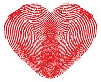 Romantic heart made of fingerprints. Over white background Stock Photo