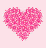 Romantic heart made of pink flowers for Valentine Day Royalty Free Stock Image