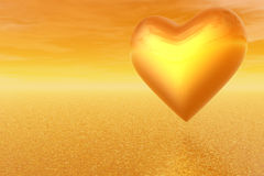 Romantic heart on orange sky Royalty Free Stock Photo
