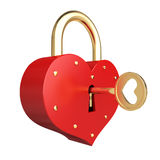 Romantic heart padlock. Whith golden key on the white background Royalty Free Stock Images
