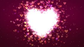 Romantic heart particles background loop stock footage