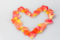 Romantic heart of roses leaves Stock Photo