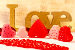 Romantic heart shaped candles  set Stock Image