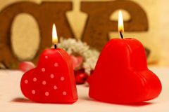 Romantic heart shaped candles  set Stock Photography
