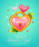 Romantic heart shaped lock  retro postcard Royalty Free Stock Photography