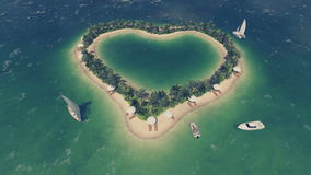 Romantic heart shaped tropical island Top view stock footage