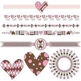 Romantic heart trims and graphics Stock Image