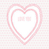 Romantic Heart Valentine card, seamless pattern. Stock Photo