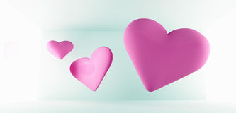 Romantic Hearts Background. Background of three floating pink hearts on light blue with bright lateral illuminated glow on both sides, romance and Valentines Royalty Free Stock Photos