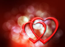 Romantic hearts. Background with defocused lights and two hearts Royalty Free Stock Photo