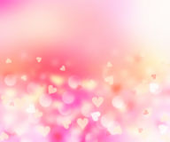 Romantic hearts blurred on pink background.Valentine card. Stock Photography