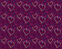 Romantic hearts flying. Pattern of romantic hearts flying in a sky full of colorful dots Royalty Free Stock Photography
