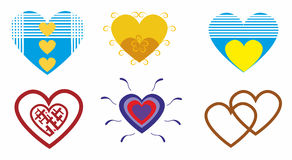Romantic hearts for lovers.Set vector illustration Royalty Free Stock Photos