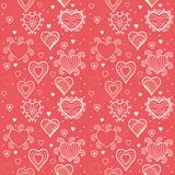 Romantic hearts seamless background Royalty Free Stock Images