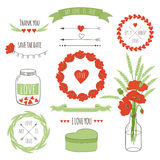 Romantic hipster icons Royalty Free Stock Images