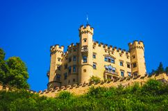 Romantic Hohenschwangau castle at Bavaria region of Germany. Popular tourist destination stock photo