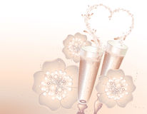 Romantic holiday card. With champagne flutes and heart Stock Photography