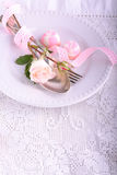 Romantic holiday table setting, on wooden Royalty Free Stock Images