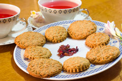 Romantic homemade biscuits with herbal tea Royalty Free Stock Photography
