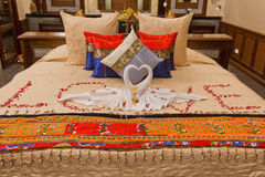 Romantic honeymoon suite in Asia. A beautifully decorated honeymoon suite in Thailand Royalty Free Stock Images