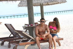 Romantic honeymooners in Maldives Royalty Free Stock Photo